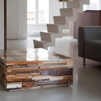 Open plan living with floating staircase